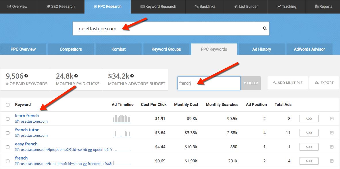 SpyFu PPC Research Tool