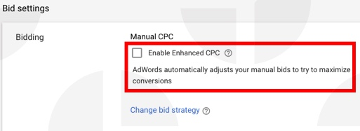 Google Shopping bid strategy: example of enhanced CPC bidding strategy.