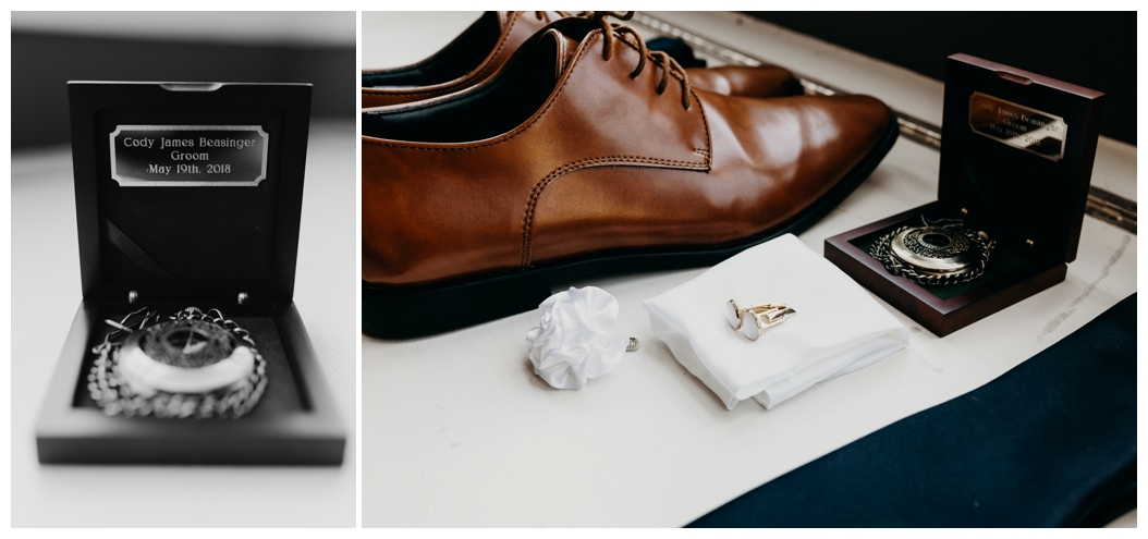 groom's shoes timepiece and cufflinks