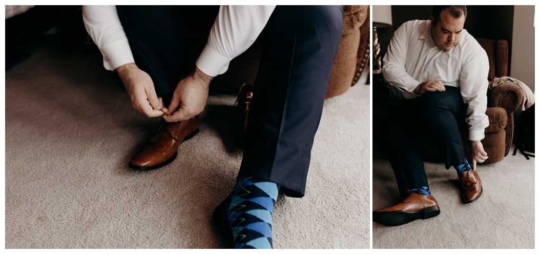 groom putting on his shoes