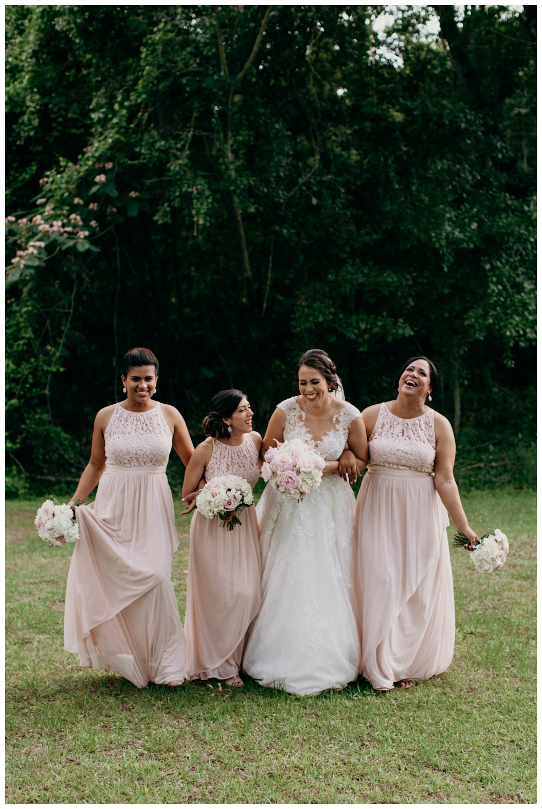 bride and her bridesmaids walking in Tallahassee