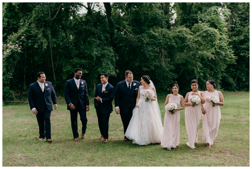 bridal party walking in Tallahassee