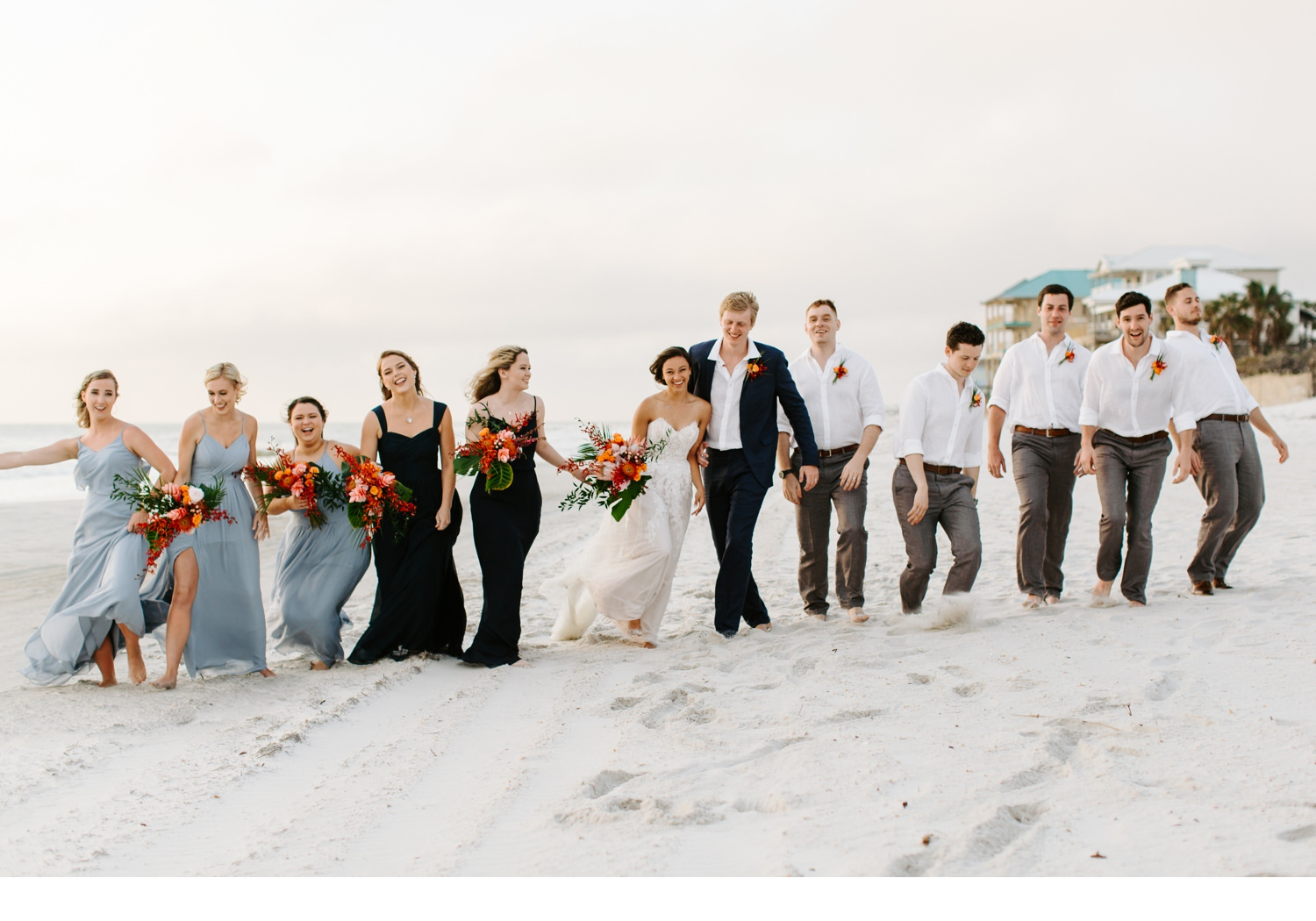 wedding party photos on the beach