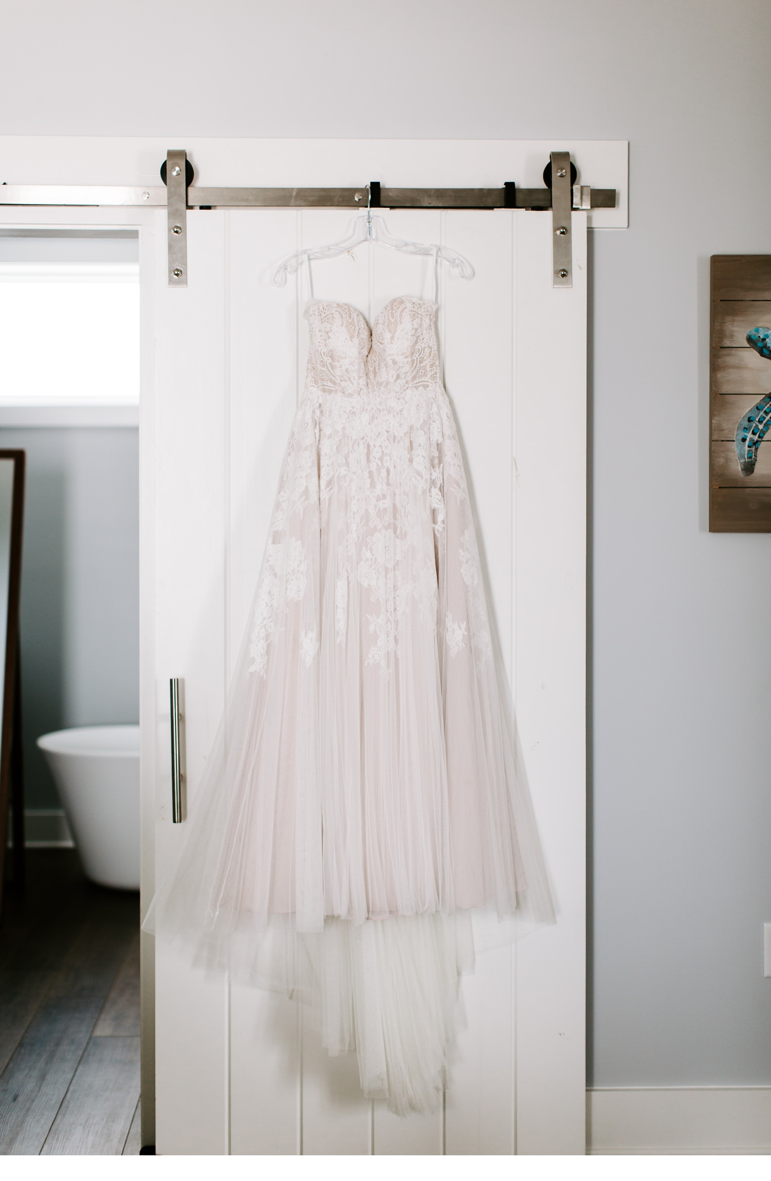 hanging wedding dress picture