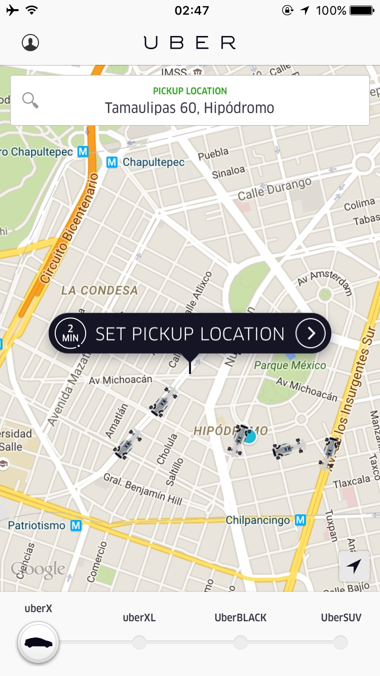 Example of Uber availability, at 3:00 on a Monday!