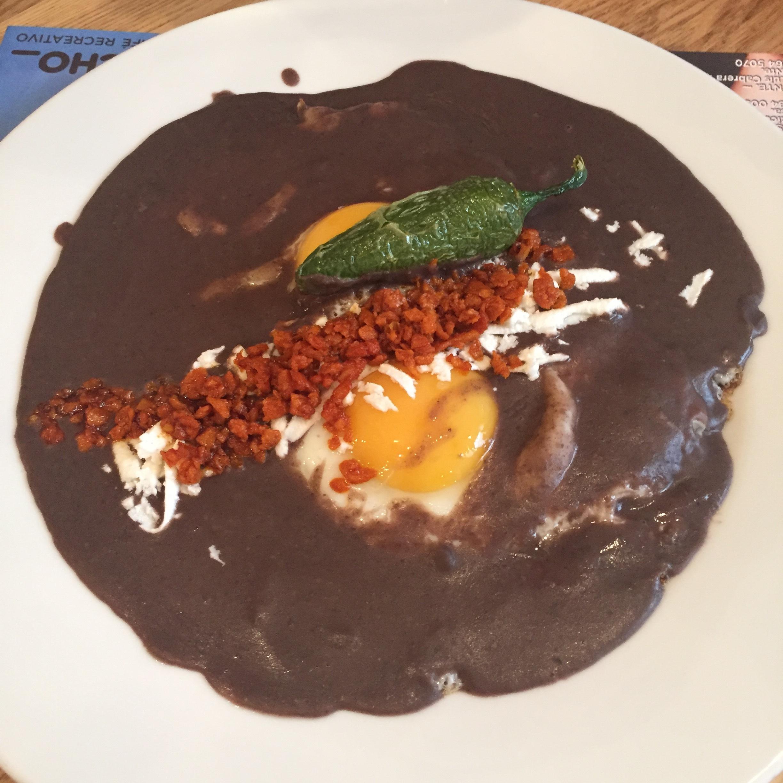 Eggs with veggie chorizo and black bean salsa