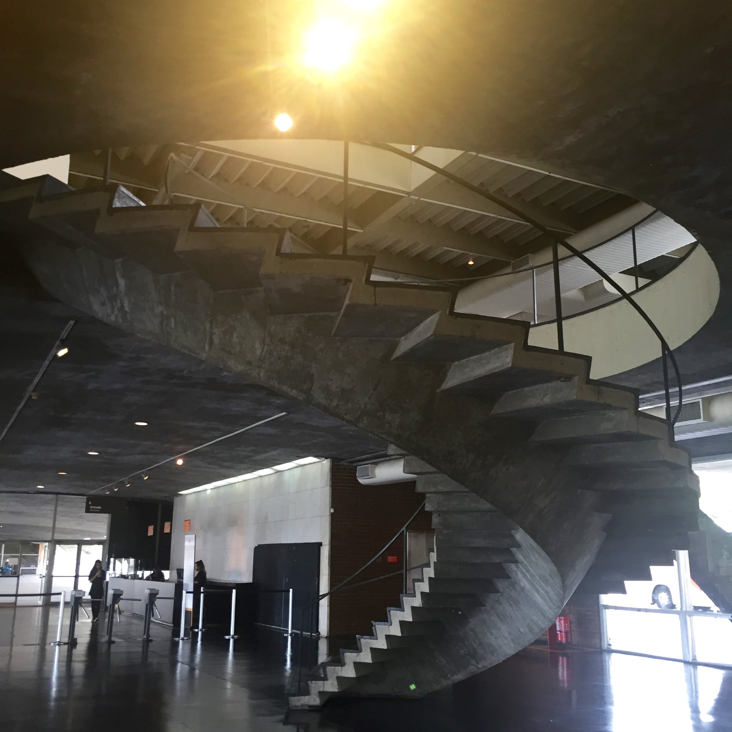 Spiral staircase leading to the exhibitions