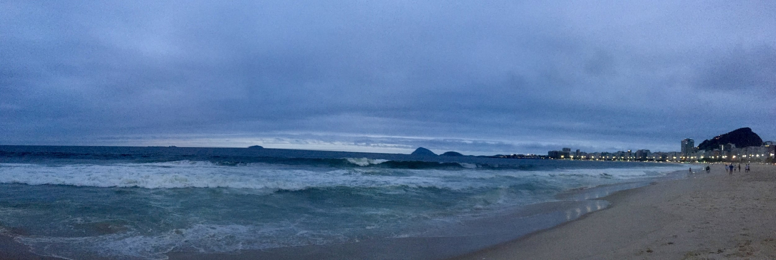 Copacabana beach at dusk