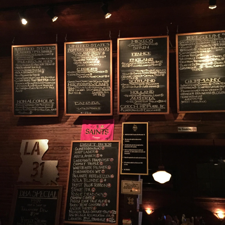 Fabulous beer menu at  DBA