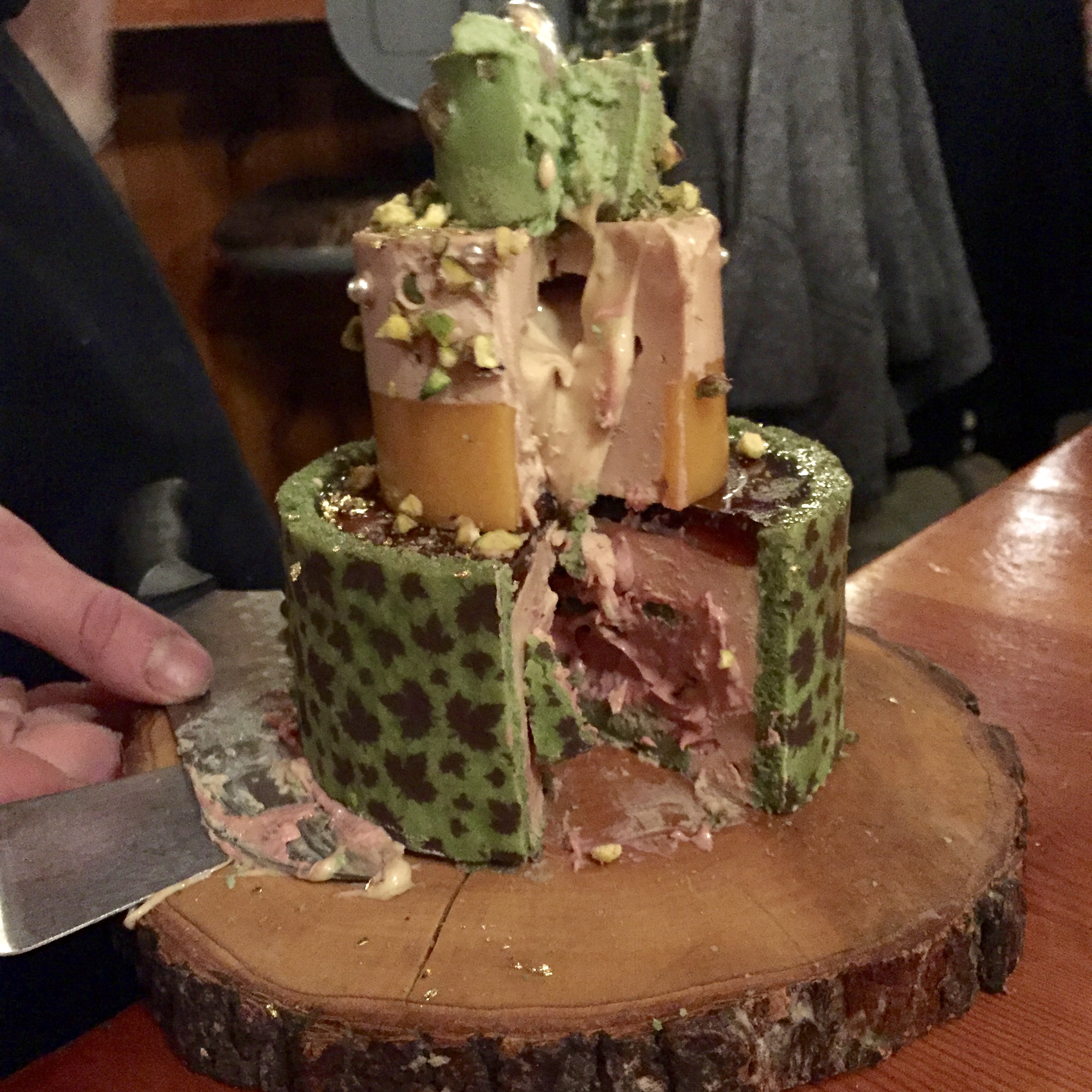 Notice the foie gras butter oozing out of layer two and the maple leaf detail on the bottom tier. Amazing.