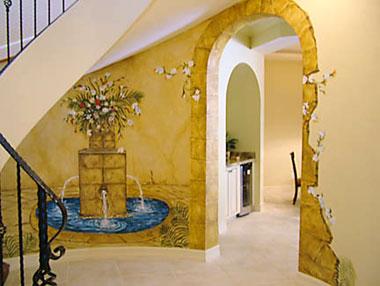 Naples Foyer Faux Stone Arch Design