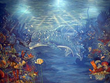 3D Glow in the Dark Air Brushed Dolphin Mural