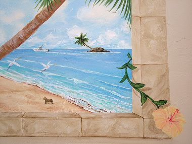 Faux Stone Arched Marco Beach Scene