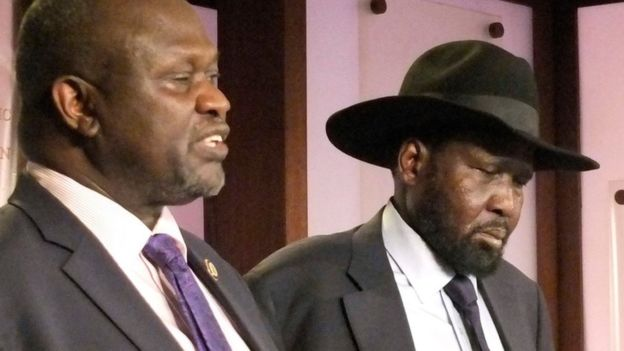 (AP) Vice-President Riek Machar and President Salva Kiir