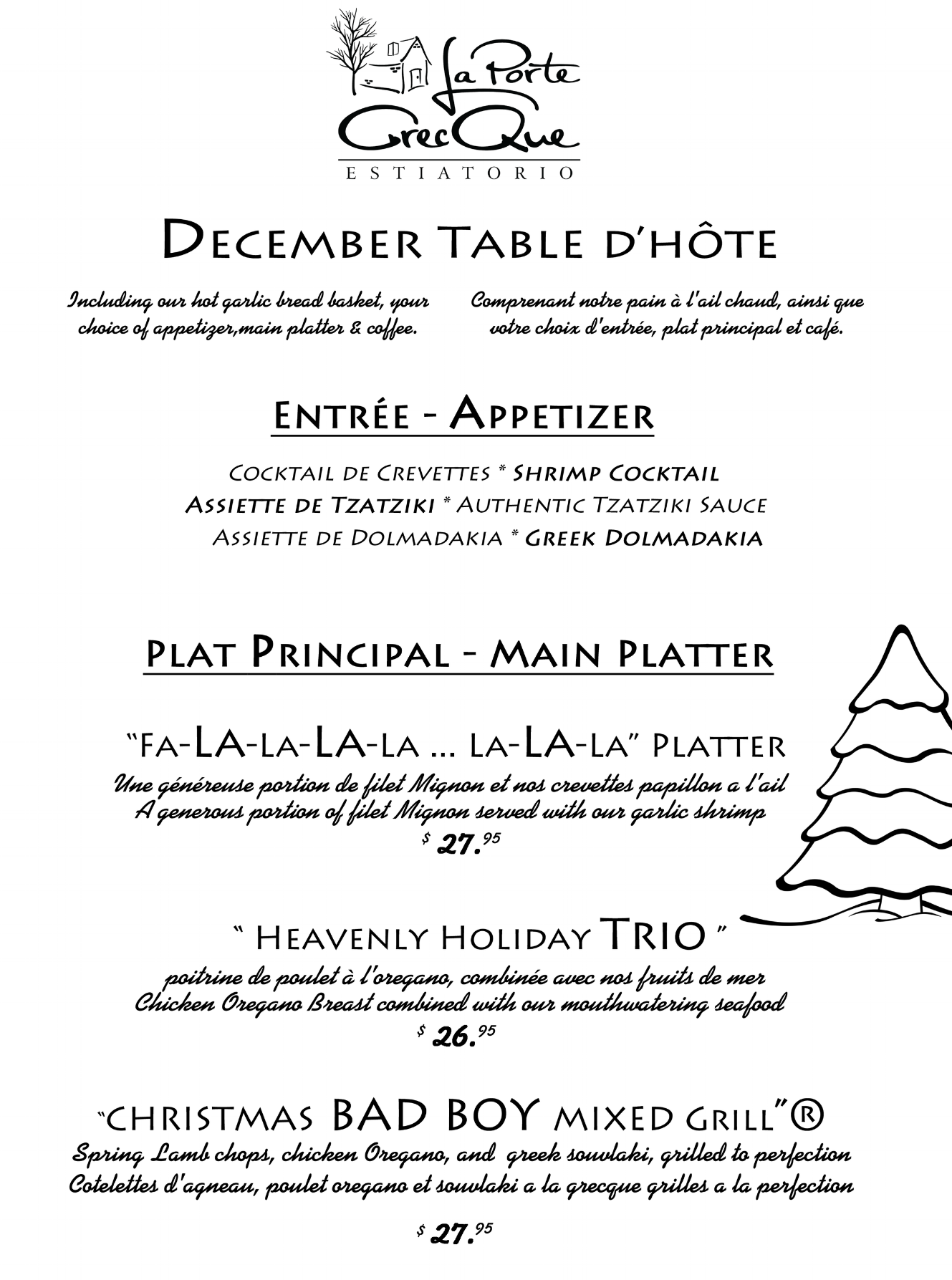 Holiday Table D'hôte