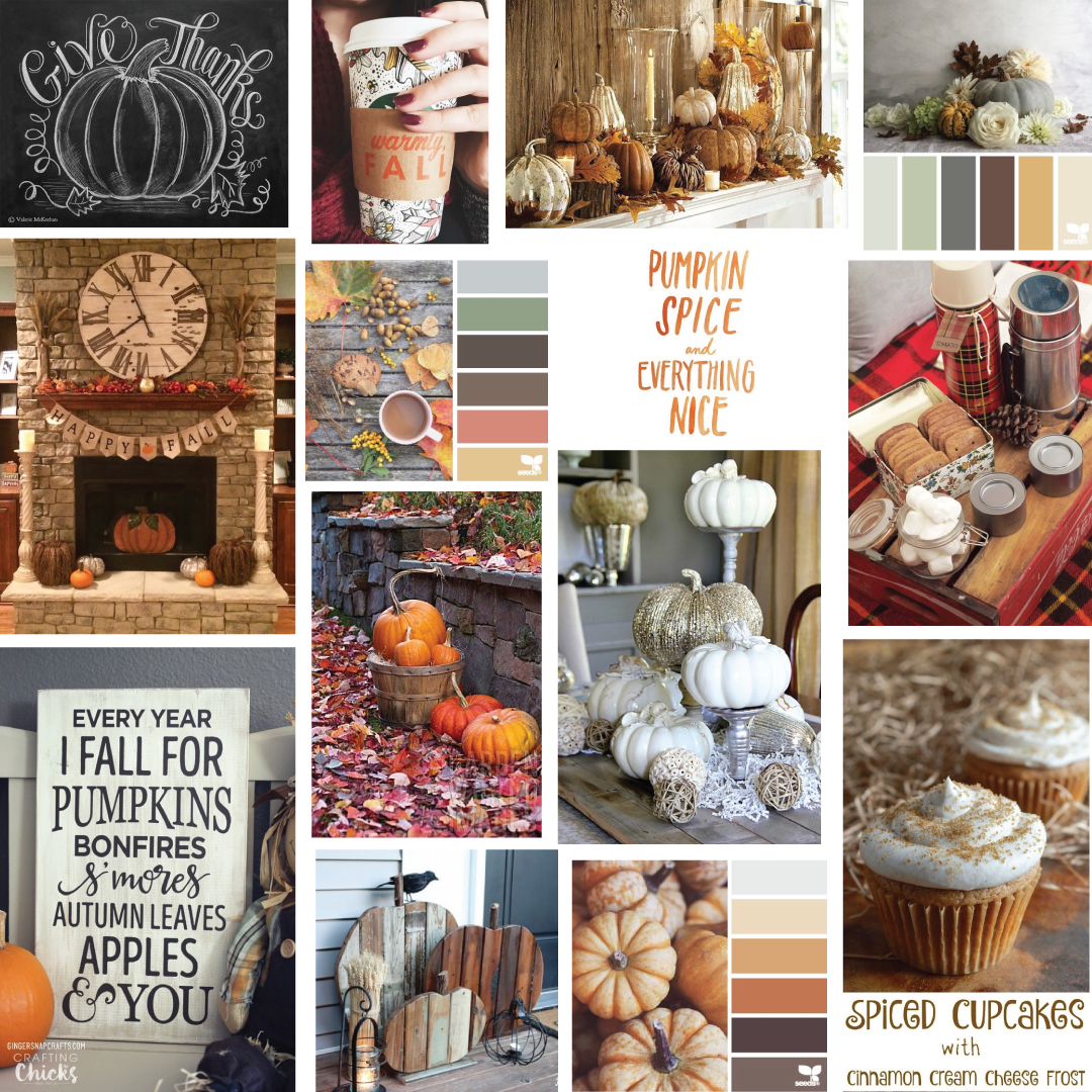 Give Thanks Sign     Spiced Cupcakes     Fall Wood Sign     DIY Scrap Wood Pumpkins     Pumpkin Spice and Everything Nice     Color Palettes Anything else: Pinterest