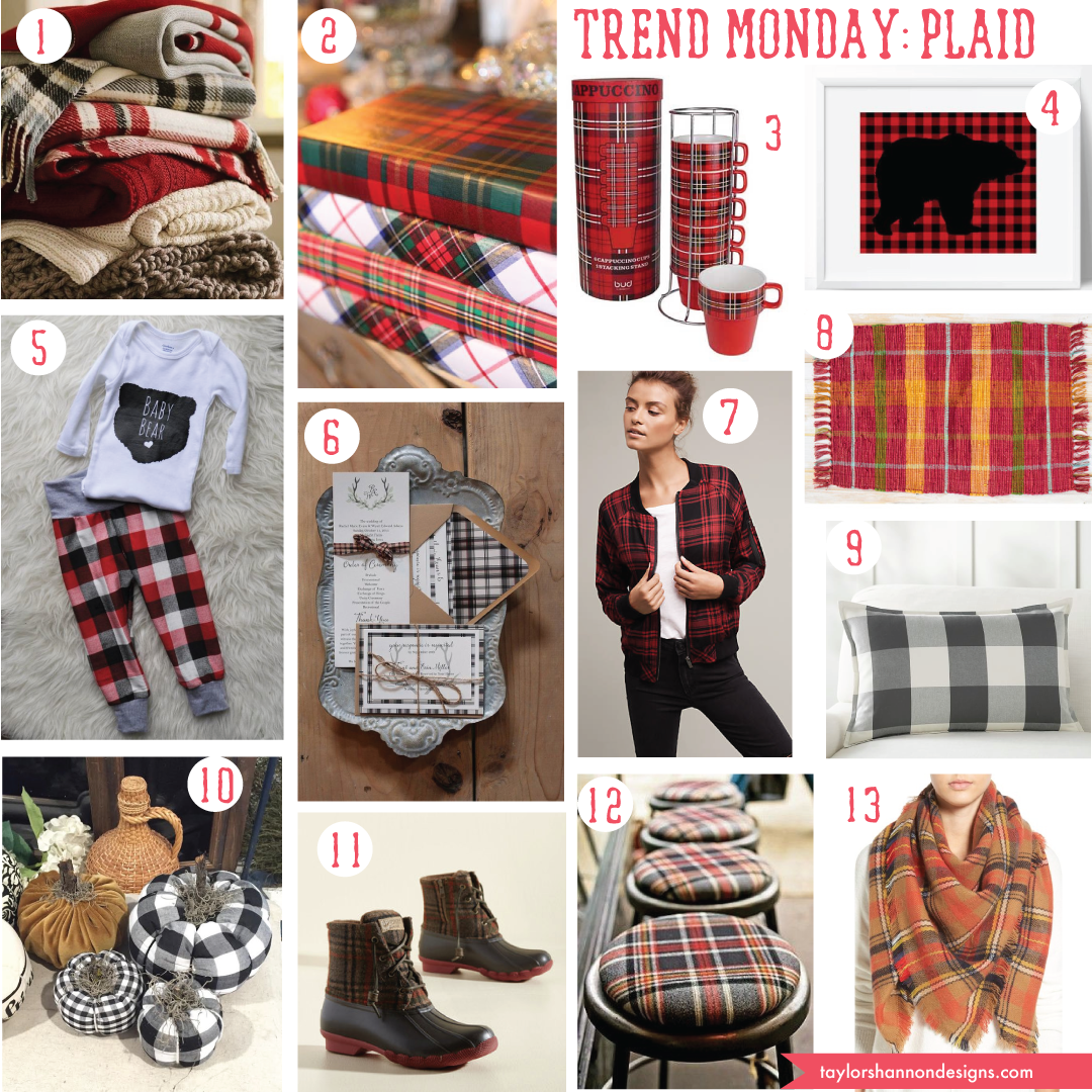 1. blankets    2. wrapping paper    3. cappuccino set    4. art print    5. child's outfit   6 . wedding invitation    7. anthro jacket    8. bright rug    9. pottery barn pillow    10. diy pumpkins    11. boots    12. stools    13. scarf