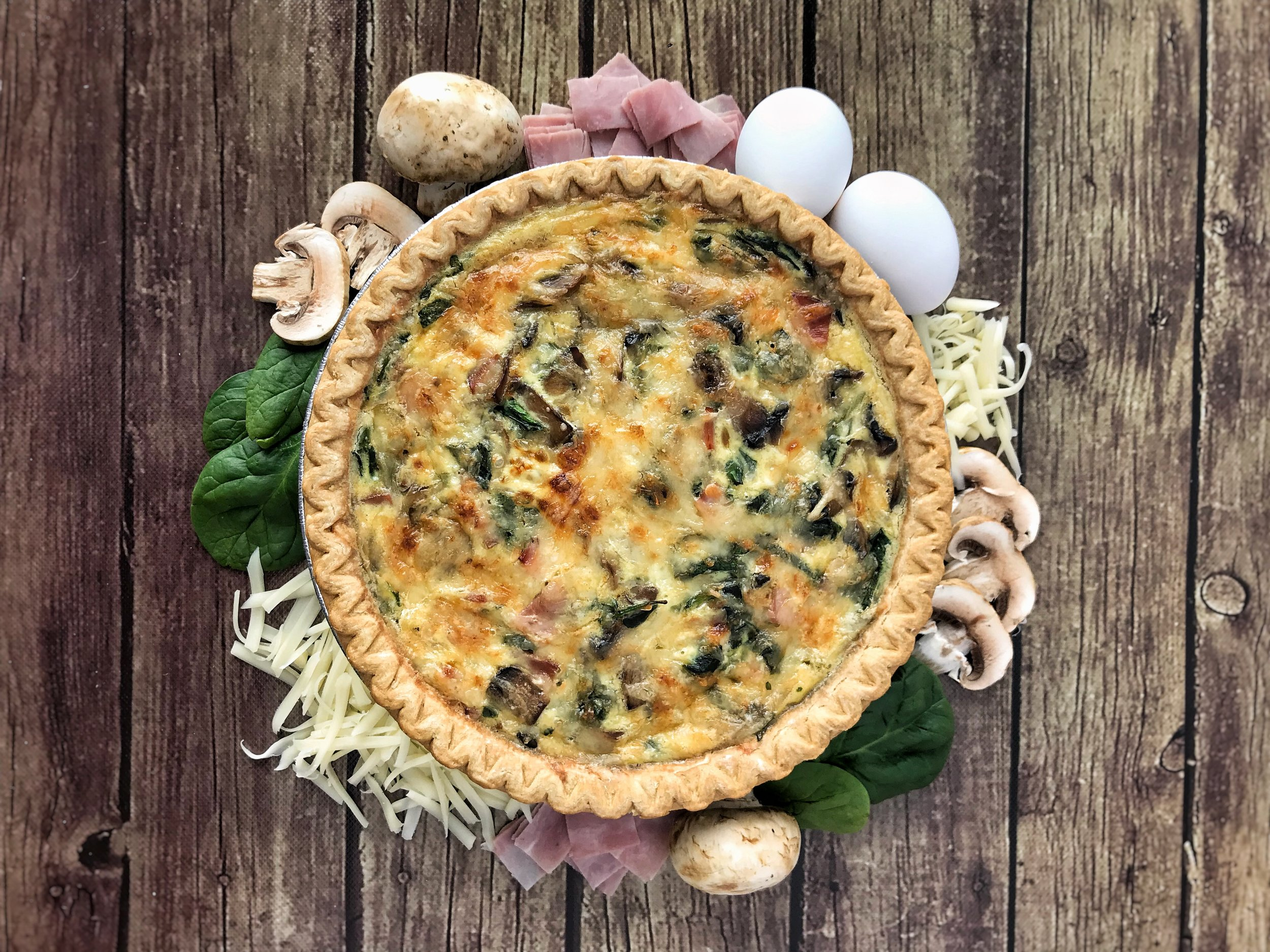 SPINACH, MUSHROOM, AND HAM QUICHE
