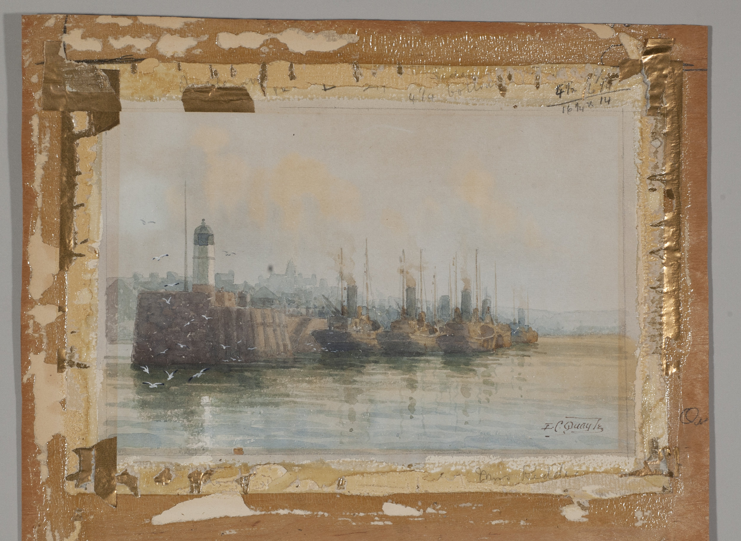 1917 watercolor mounted to wooden board adhered with hide glue