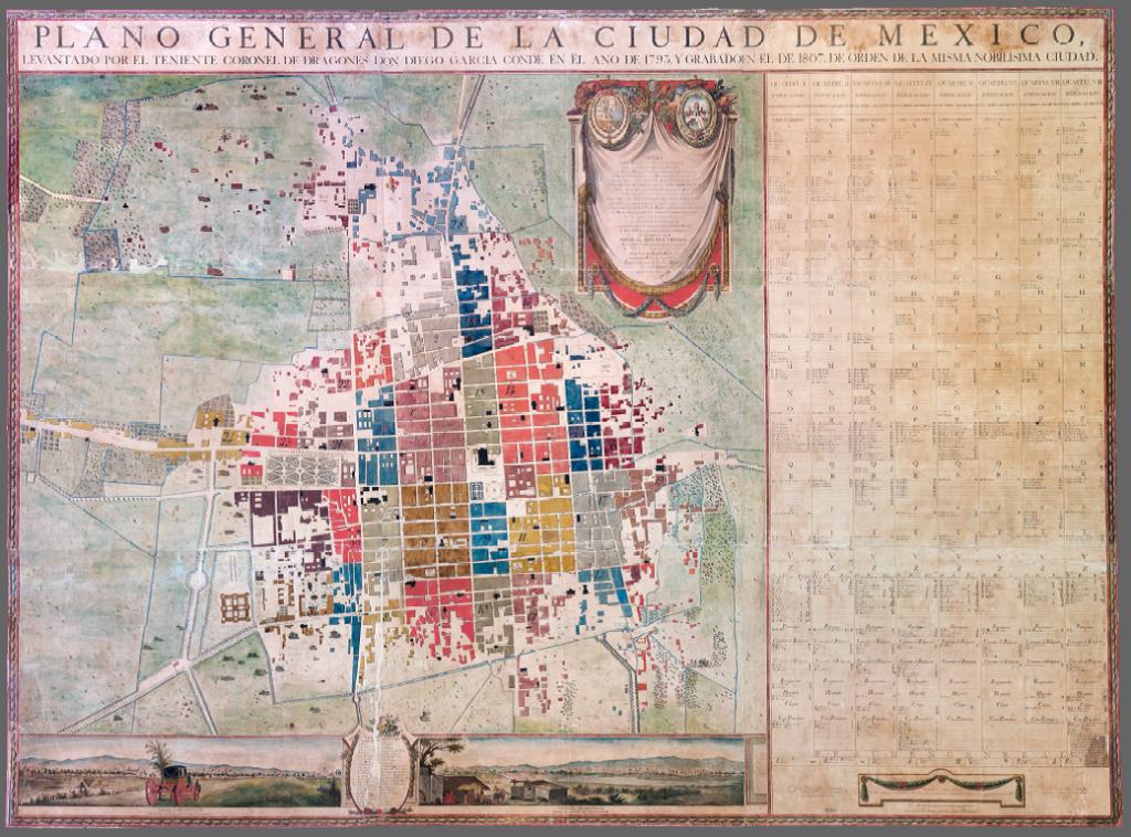 Diego Conde's Carta de La Ciudad de Mexico, 1793, after conservation. Photo courtesy of 42-line Digital Publishing.
