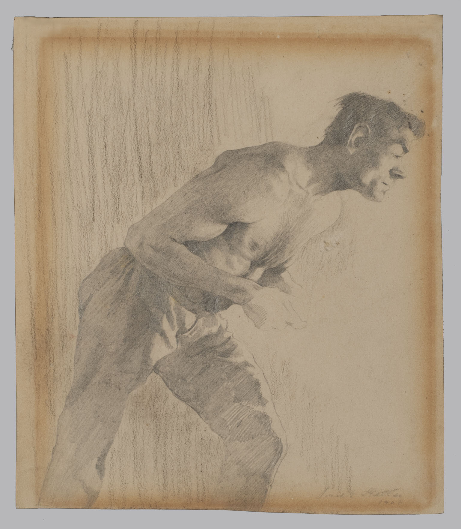 Graphite drawing with severe discoloration over the image