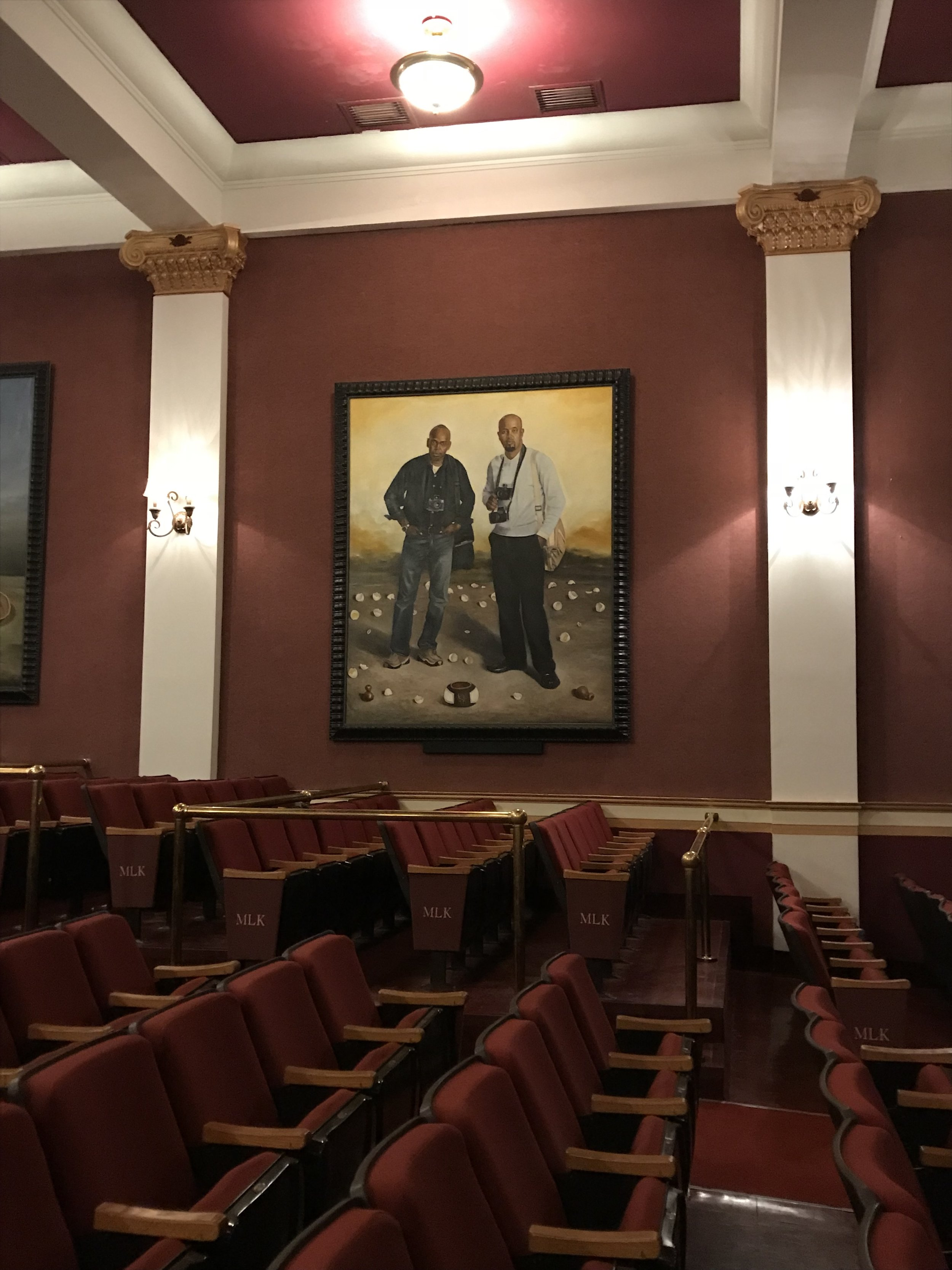 Sitting for a few minutes in the Pythian Theater, we learned a bit more about the people who built this space for as a showcase for community talent. Enormous, life-like contemporary portraits of key artists in the area grace the walls.