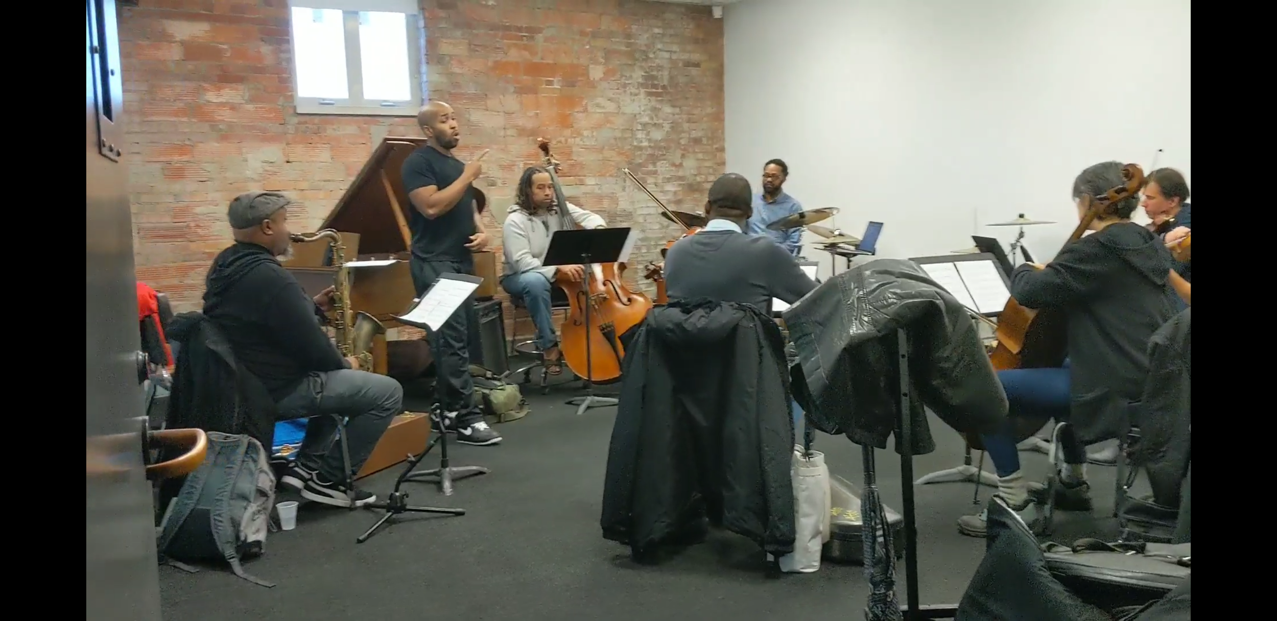 Walking by one of the practice spaces, we got to listen in for a few moments to Max Lomax, artist-in-residence at the Wexner Center for the Arts at Ohio State rehearsing for the world premiere of his 400: Afrikan Epic. We all wished we could have lingered longer, and danced…