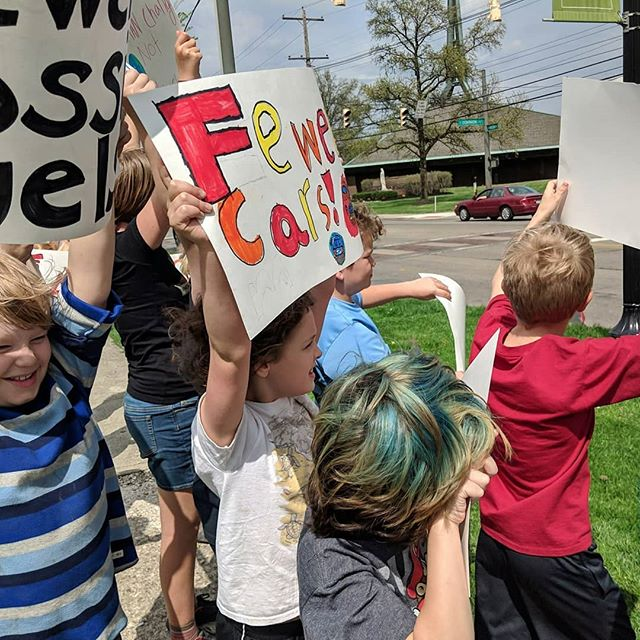 "Our kids held a Climate Change demonstration yesterday. They all made their own signs, walked up and down High St. chanting ""We stand for what we stand on!"" They got lots honks and cheers from passing drivers."