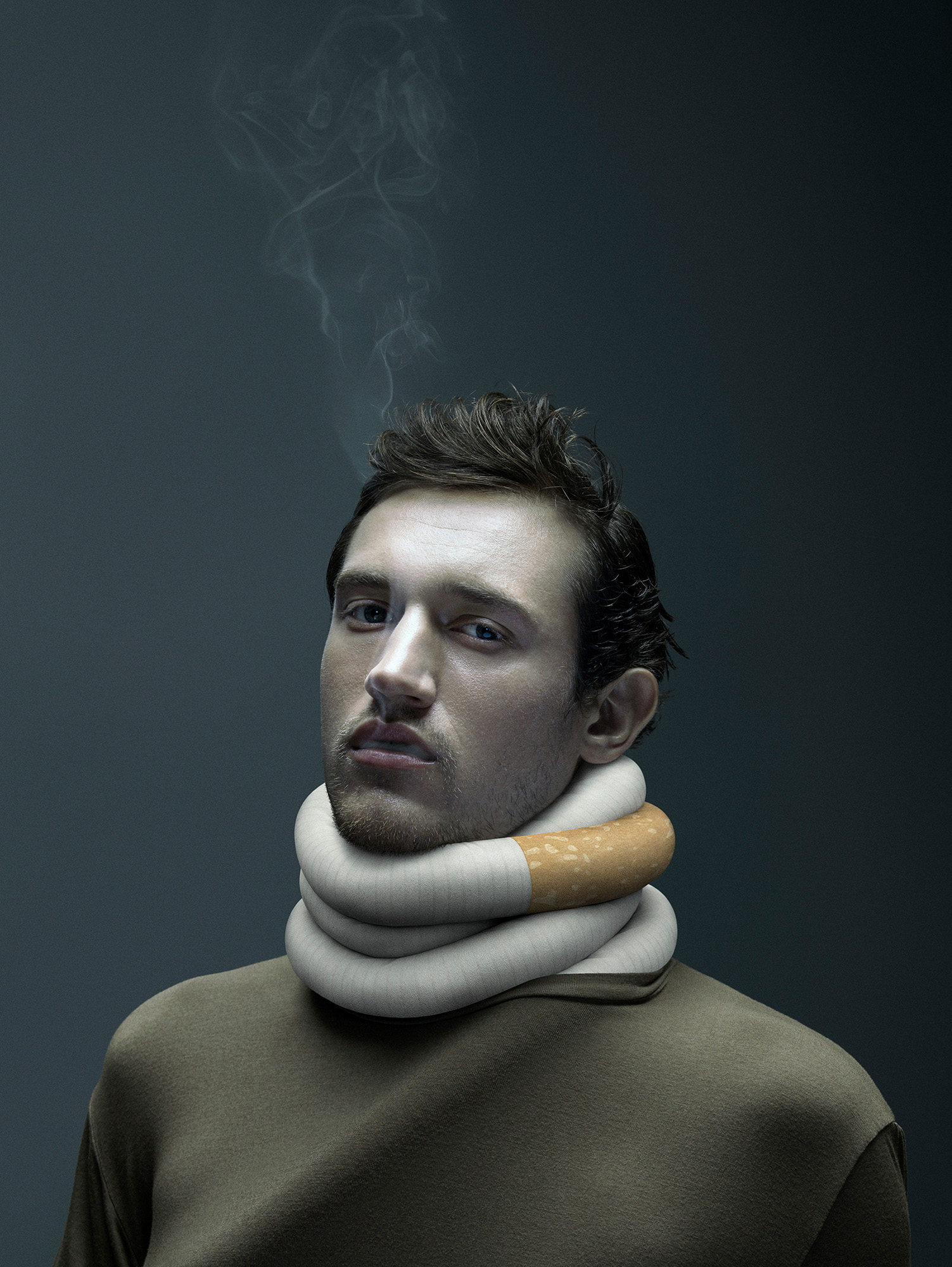 LA DÉPENDANCE À LA NICOTINE VOUS TIENT  Client: De Facto Agence: K72 Création: Simon Beaudry, Sébastien Deland Photo: Philippe Richelet 3D: Santiago Menghini Retouche photo: Claude Lafrance   Prix 2017 Applied Arts • Advertising photography Applied Arts • Public service photography Applied Arts • Young blood photography