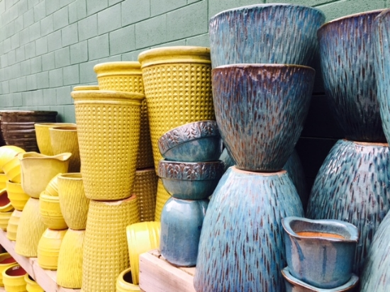 """Colorful containers can be that """"pop"""" of color a space needs. These pots can stay out all winter, so long as water can flow through them to avoid the freeze/thaw."""
