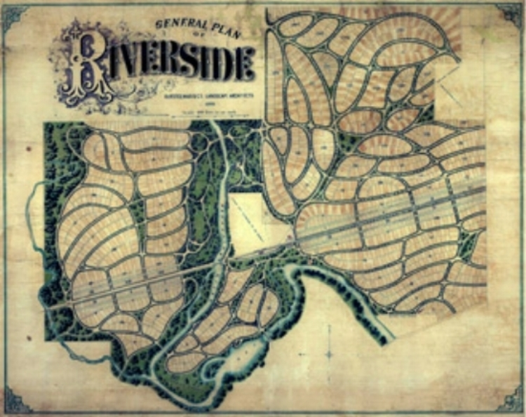 General Plan of Riverside · Olmsted, Vaux & Co. Landscape Architects · 1869.