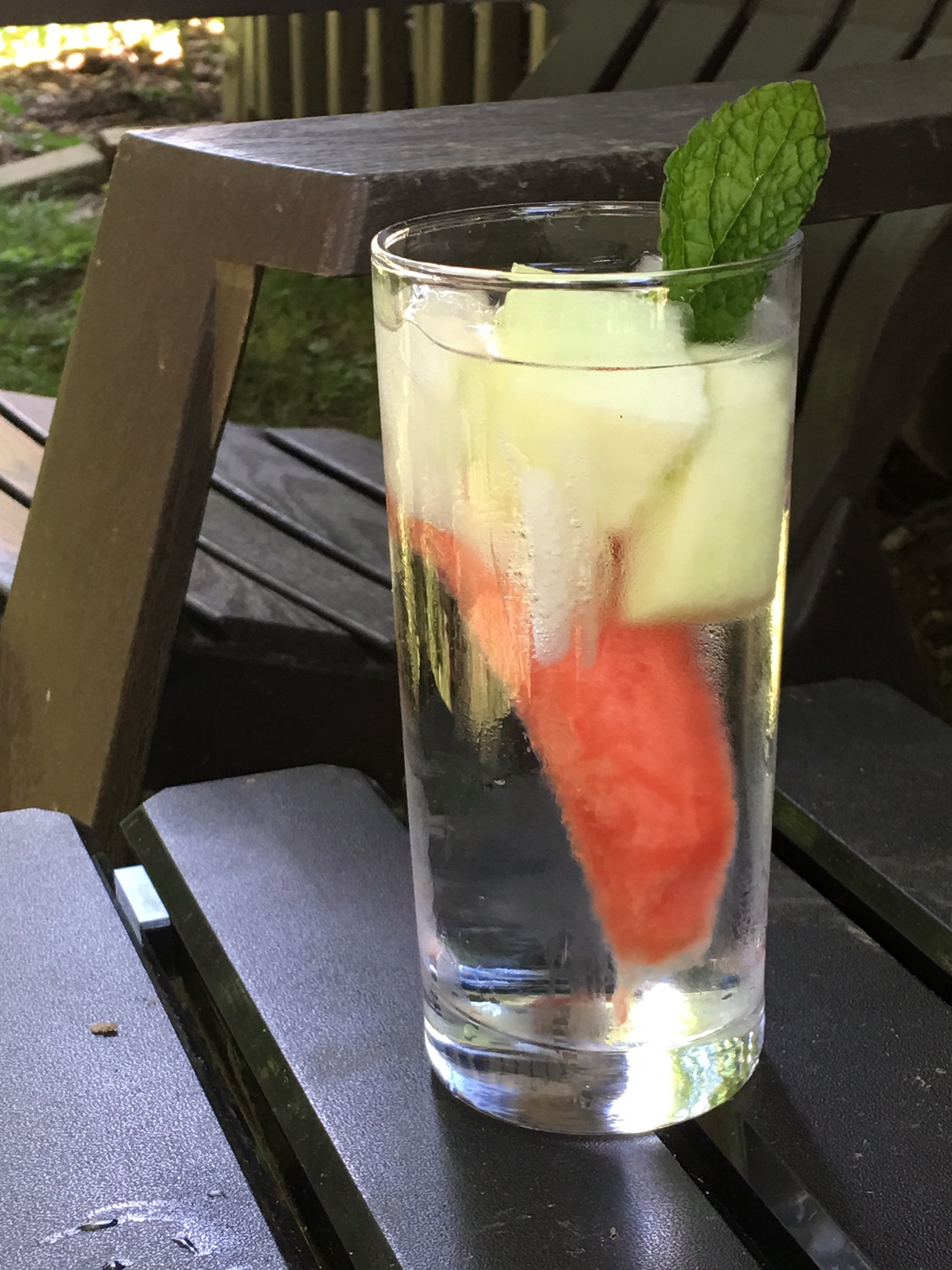 Watermelon, honeydew melon and mint water waiting on the gardener. Let it infuse while you work.