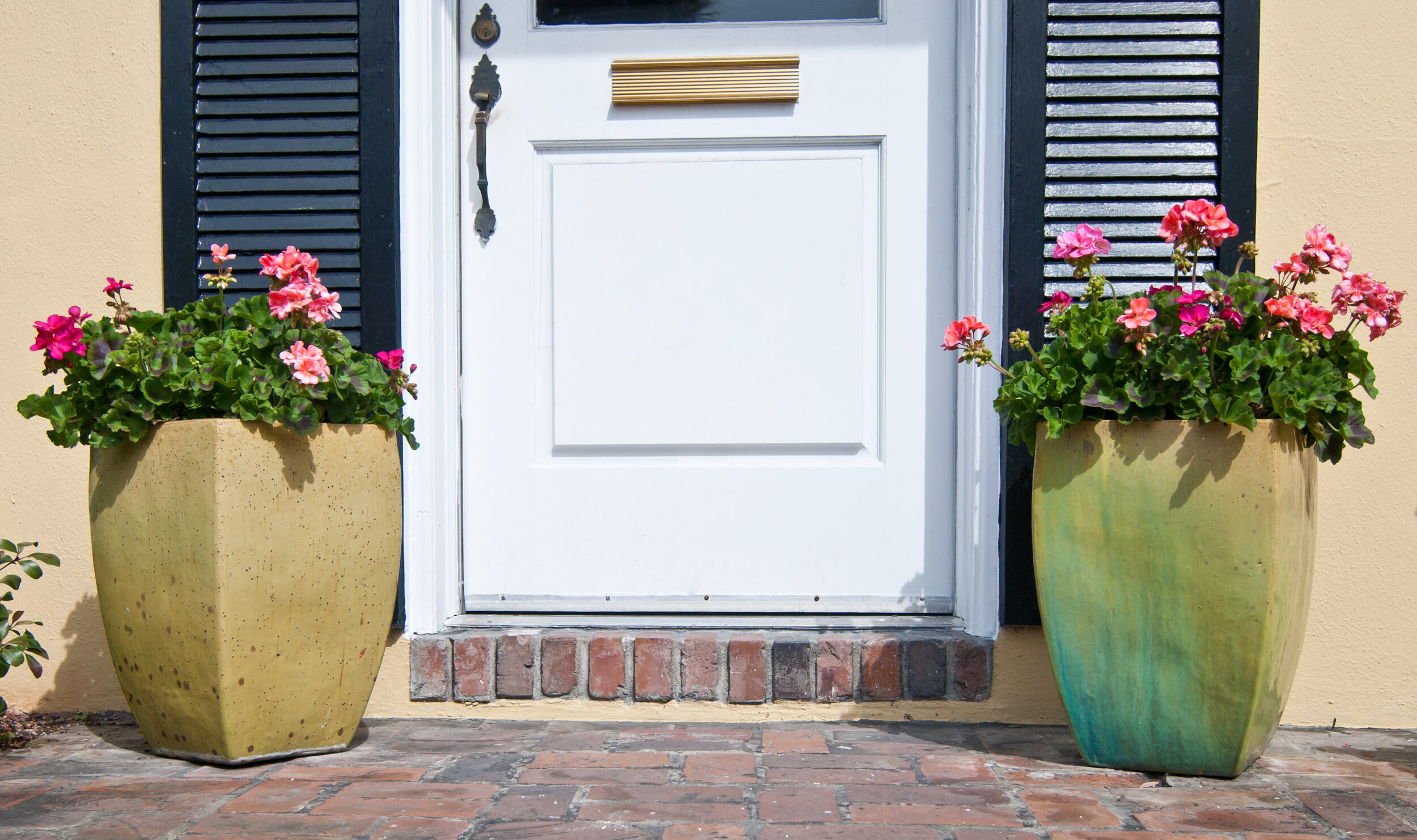 Matching planters (or single planters) are a welcome treat not only for potential home buyers for but you! Welcome yourself home each day with a splash of color.