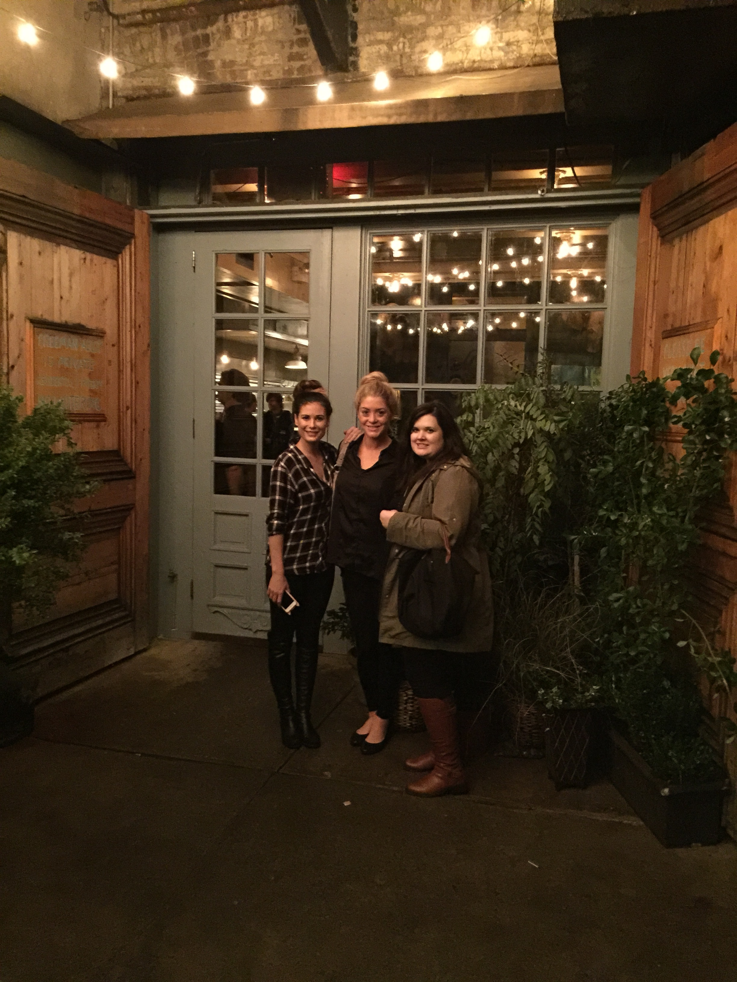 Kara, Morgan and Ella outside Freeman's Restaurant. iPhone photo by Teresa Leonard.