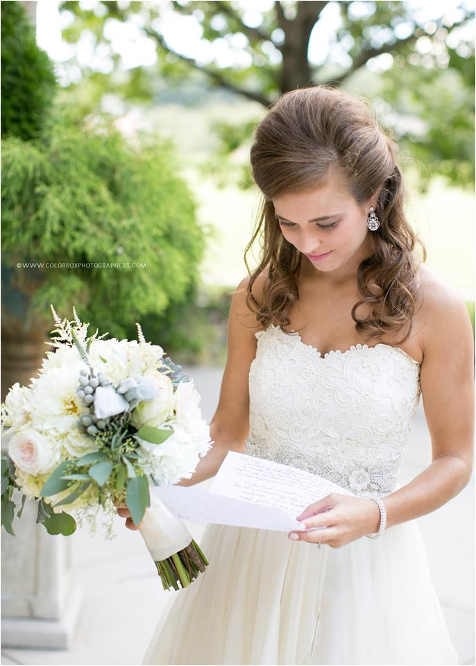 Real Bride, Kelly, in her Rena Sash. Photography by Colorbox Photographers.