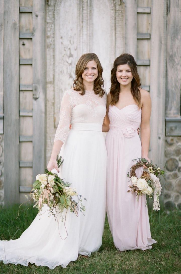 Photo by White Rabbit Studios. Gown via White Dresses Nashville. Bridesmaid Gown via Fabulous Frocks of Nashville.