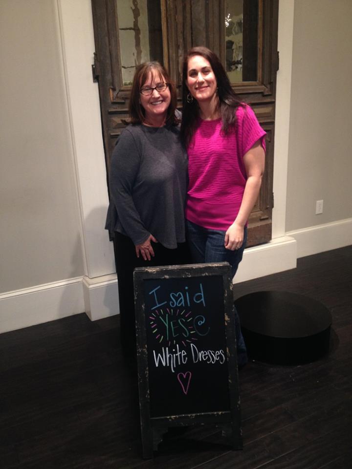 Ayse with Teresa at the Huntsville Bridal Shop.