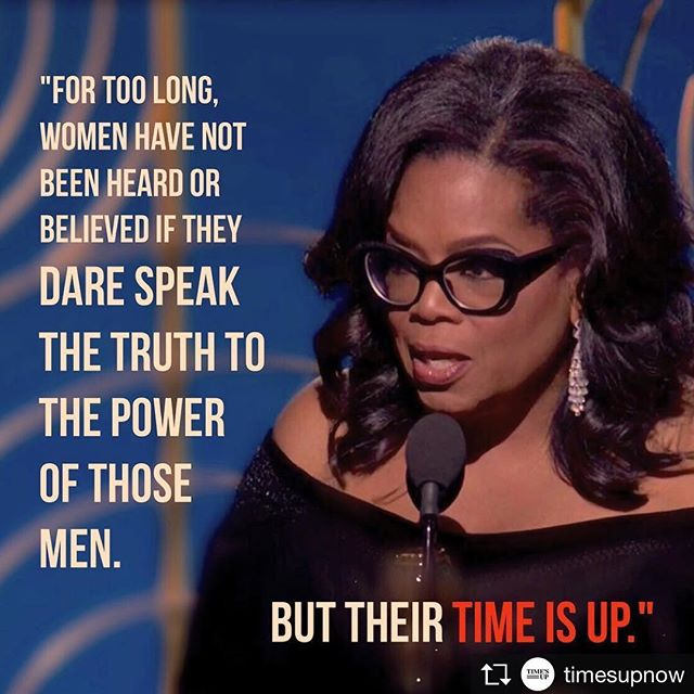 """I want all of the girls watching here now to know, that a new day is on the horizon."" What a powerful moment! We were deeply inspired and moved by Oprah's speech. Her message of hope and strength was delivered with grace and heart! #TIMESUP #goldenglobes"