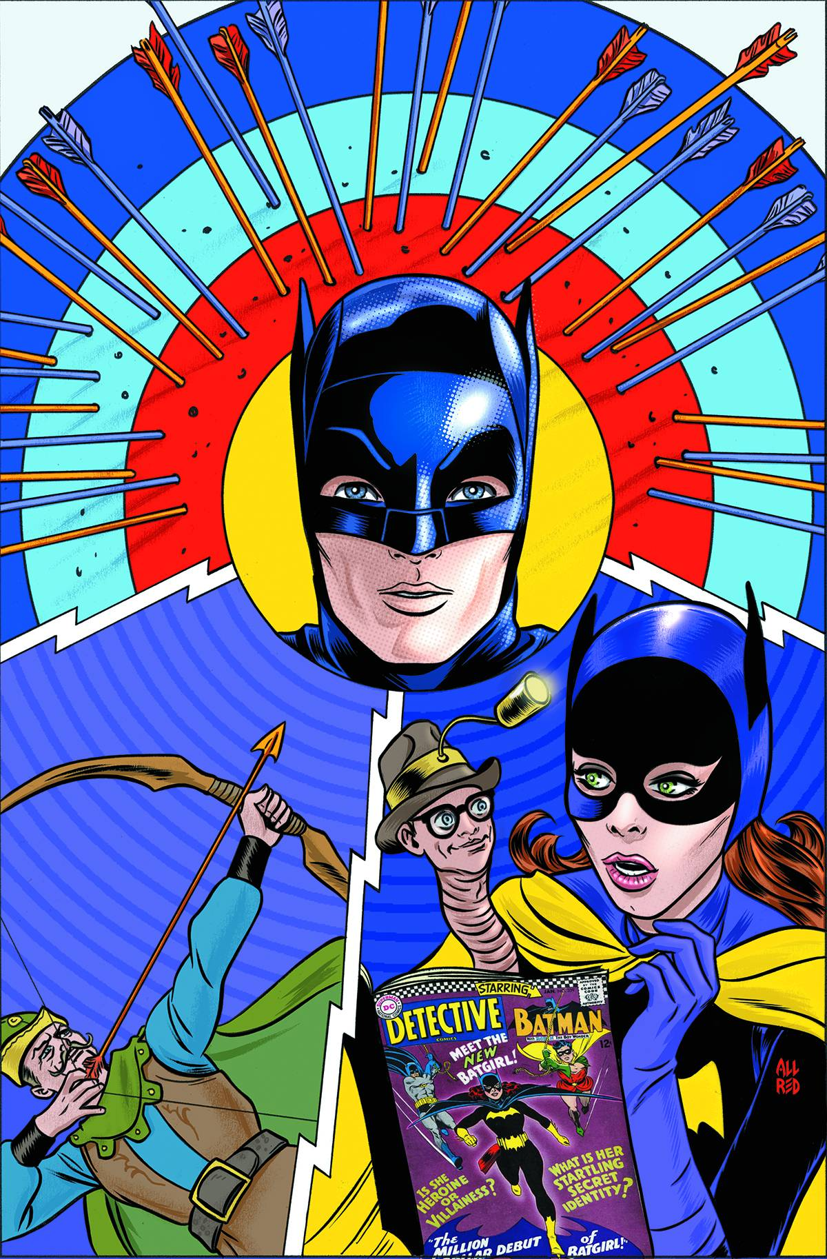 Cover artwork to  Batman '66  #18 by Mike Allred and Laura Allred. © 2014 DC Comics.