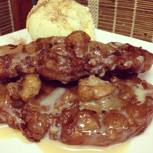 Maruya- banana fritters with vanilla ice cream topped with cinnamon