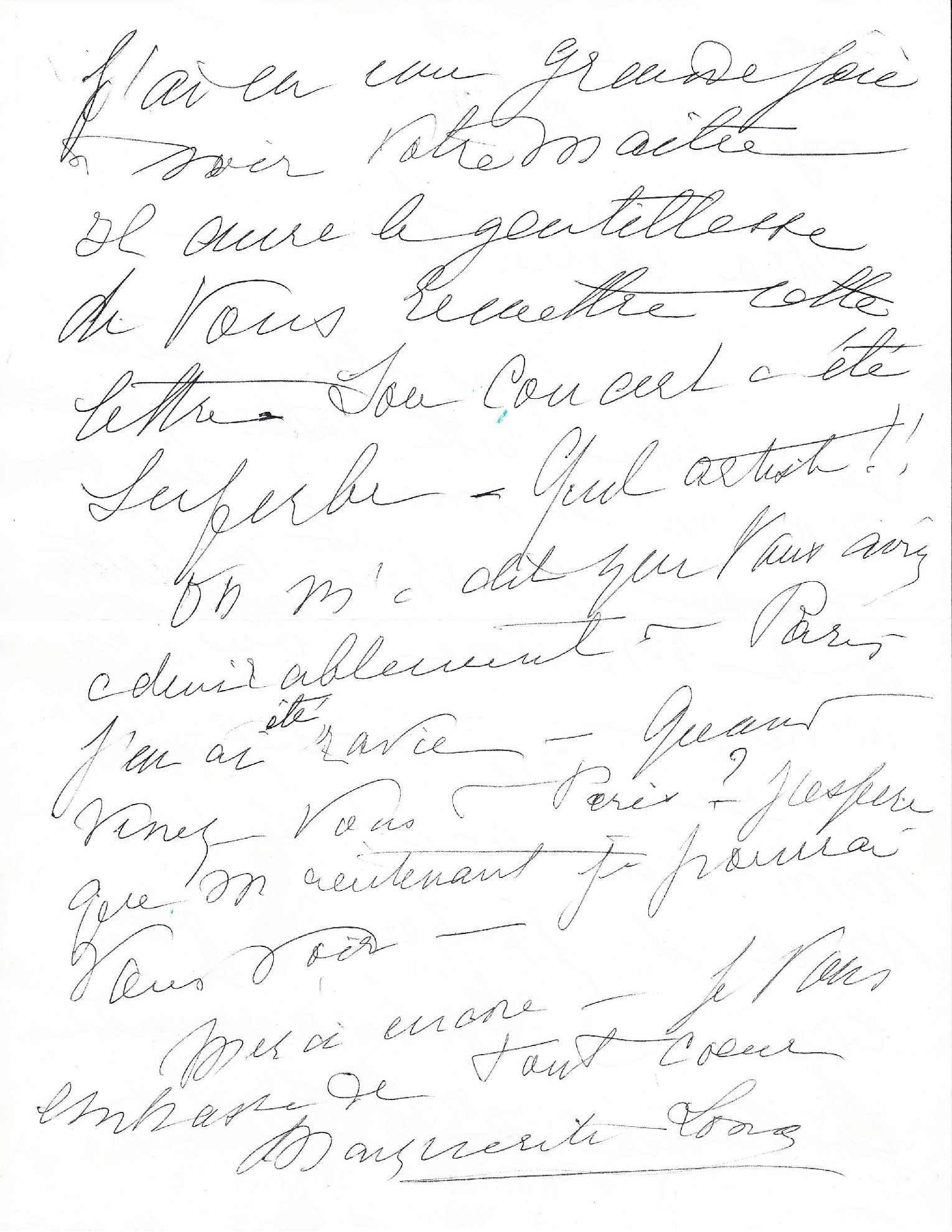 Letter from Marguerite Long to Mdivani (second page)