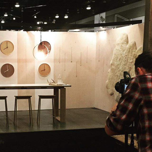 Photos going down at our booth this morning! Last chance to come visit us at IDS West today 10am-5pm. Get a first hand glimpse of Jared Pielak's work @pistolbespoke ! #idswest #idswest2015 #interiordesign #handmade #vancouvermaker #vancity #artisan #yvrdesign
