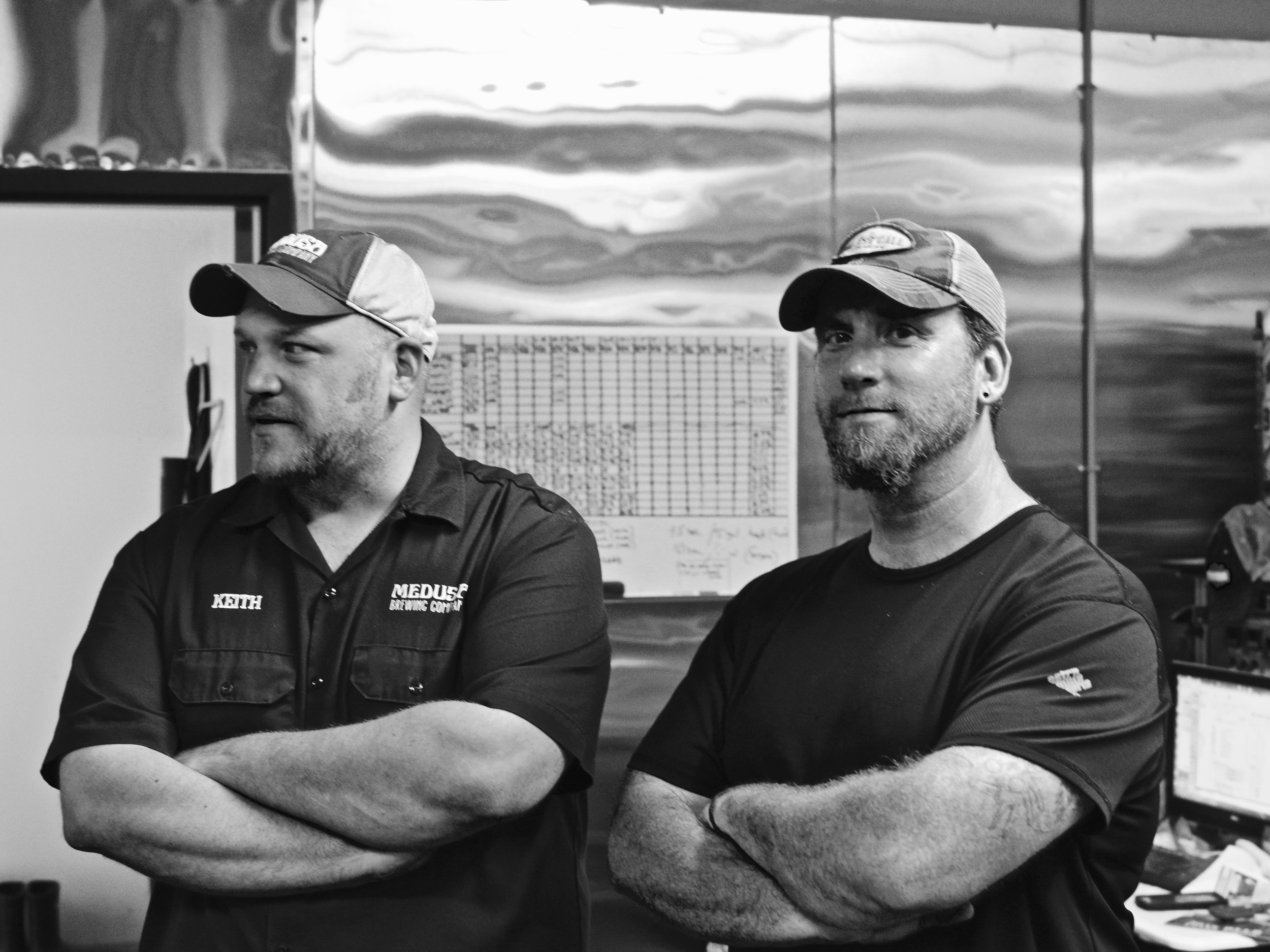 Medusa Brewing Co.'s Co-owner and Head Brewer, Keith Antul (L), and Hop Head, Dave Pappas (R), kick off the  Black Ale Project  on Medusa's 7BBL brewing system.    Photo by Medusa Brewing Company