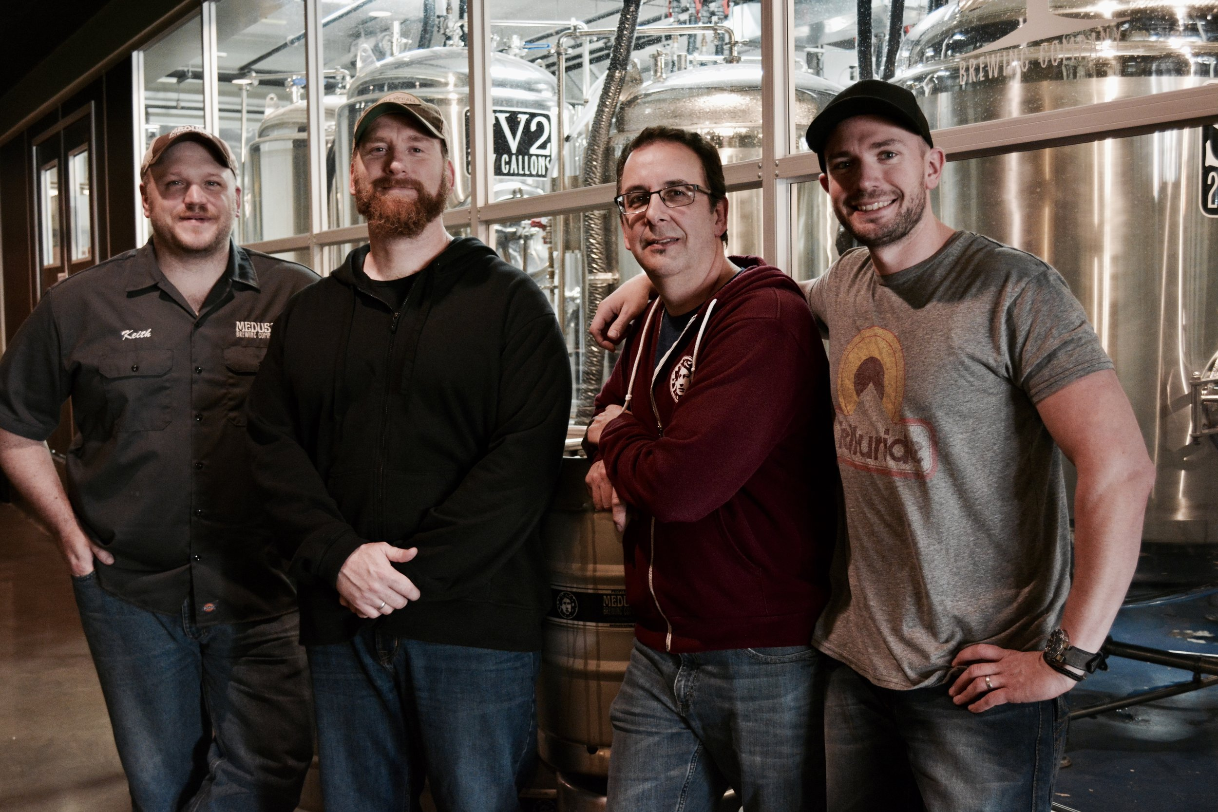 From left to right: Medusa Brewing Company Co-founder and Head Brewer Keith Antul, Dave Pappas, Co-founder Tom Sutter, and Co-founder Keith Sullivan
