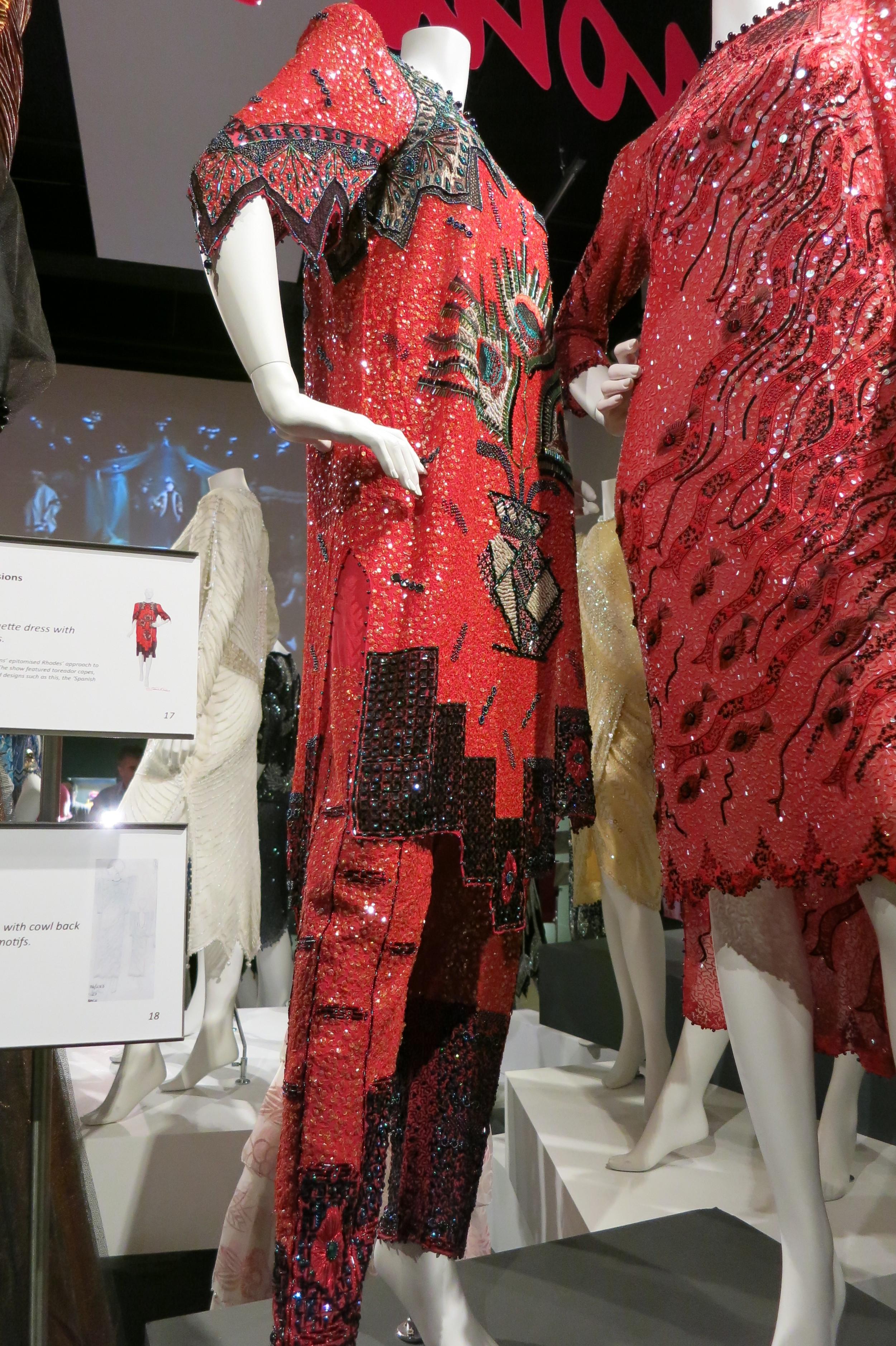 Zandra Rhodes exhibitio at the Fashion & Textile Museum, Bermondsey, London 2013 - Hand beaded dresses designed by Zandra Rhodes in the 1980s