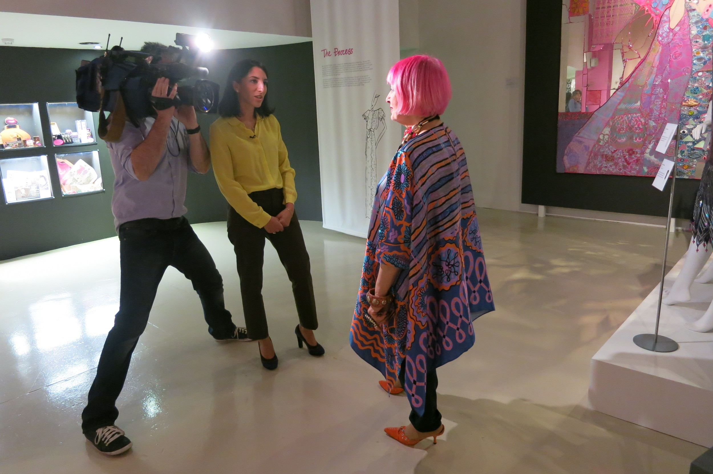 Zandra Rhodes happened to come into the museum while we were there to be interviewed. She was stunning - her fabulous outfit of course was her own design.