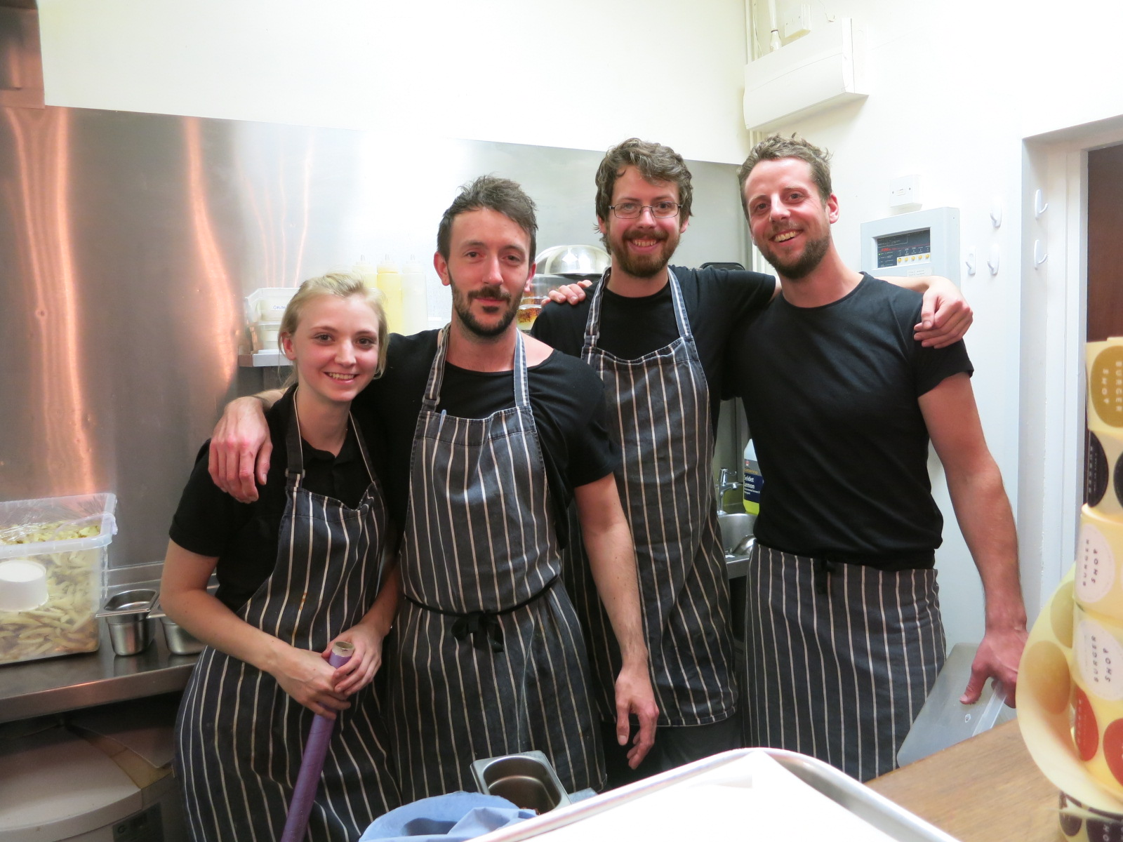 Left to right - Alex, Ally, Colin & Edwin (Dorian the chef disappeared). A Rule of Tum Burger Shop 32 Audrey St, Hereford