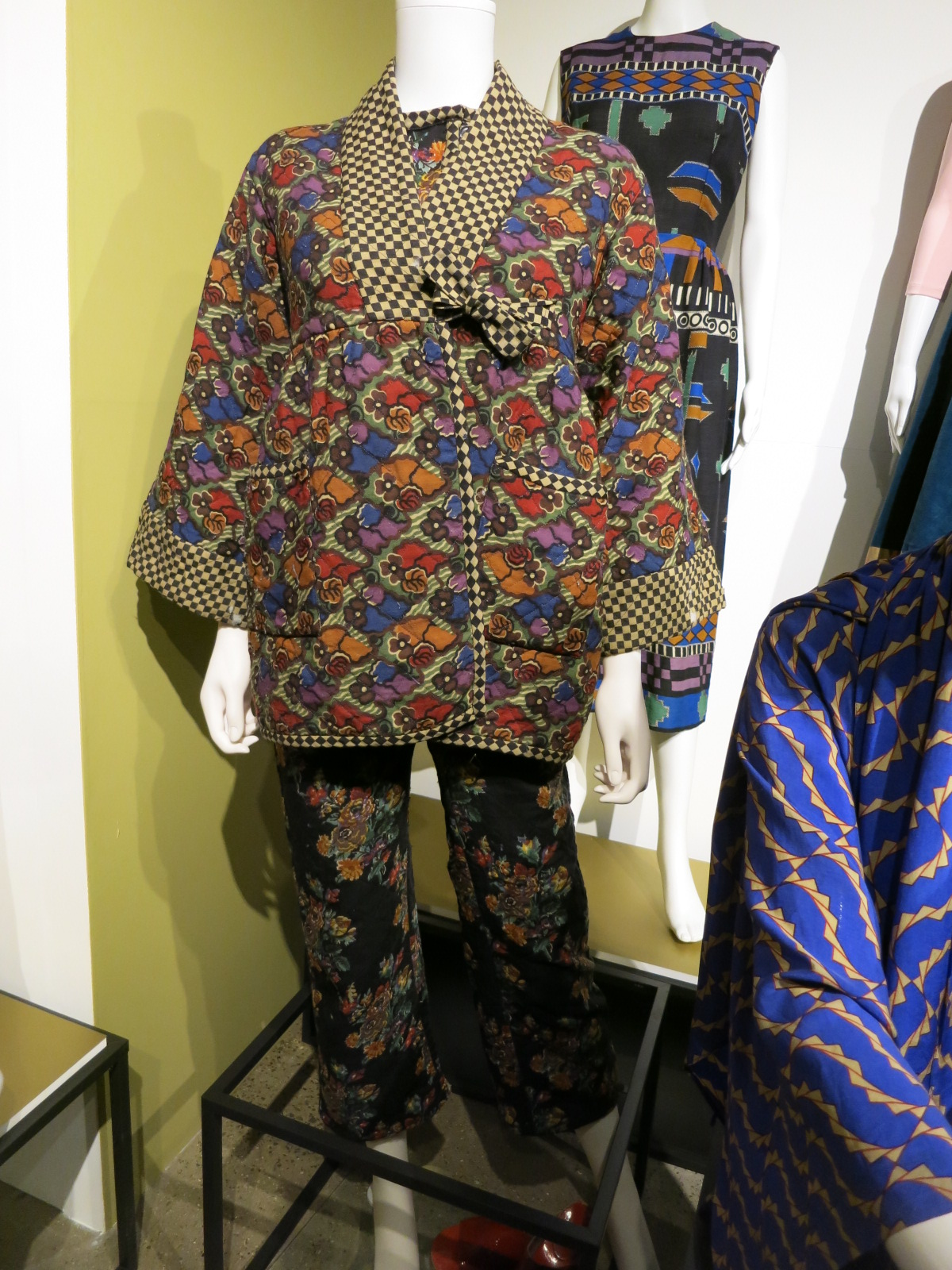 Liberty in Fashion exhibition at the Fashion & Textile Museum, Bermondsey, London 2015. This ensemble was in Foale & Tuffins A/W 1972 Collection. The prints are Richard Nevill's.