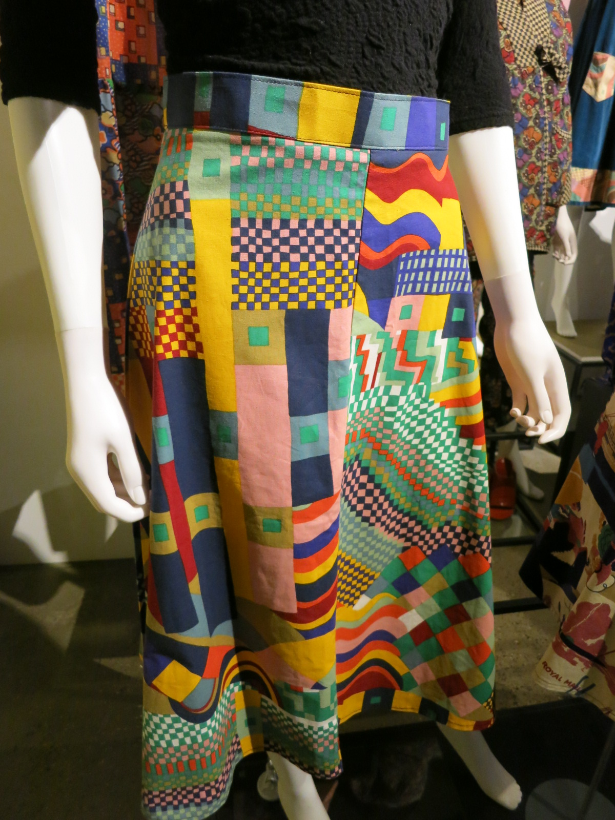 Liberty in Fashion exhibition at the Fashion & Textile Museum, Bermondsey, London 2015. This print has been borrowed from a tapestry designed by Gunta Stolzl, a Bauhaus student in the 1920s. This was a very popular design for Liberty.