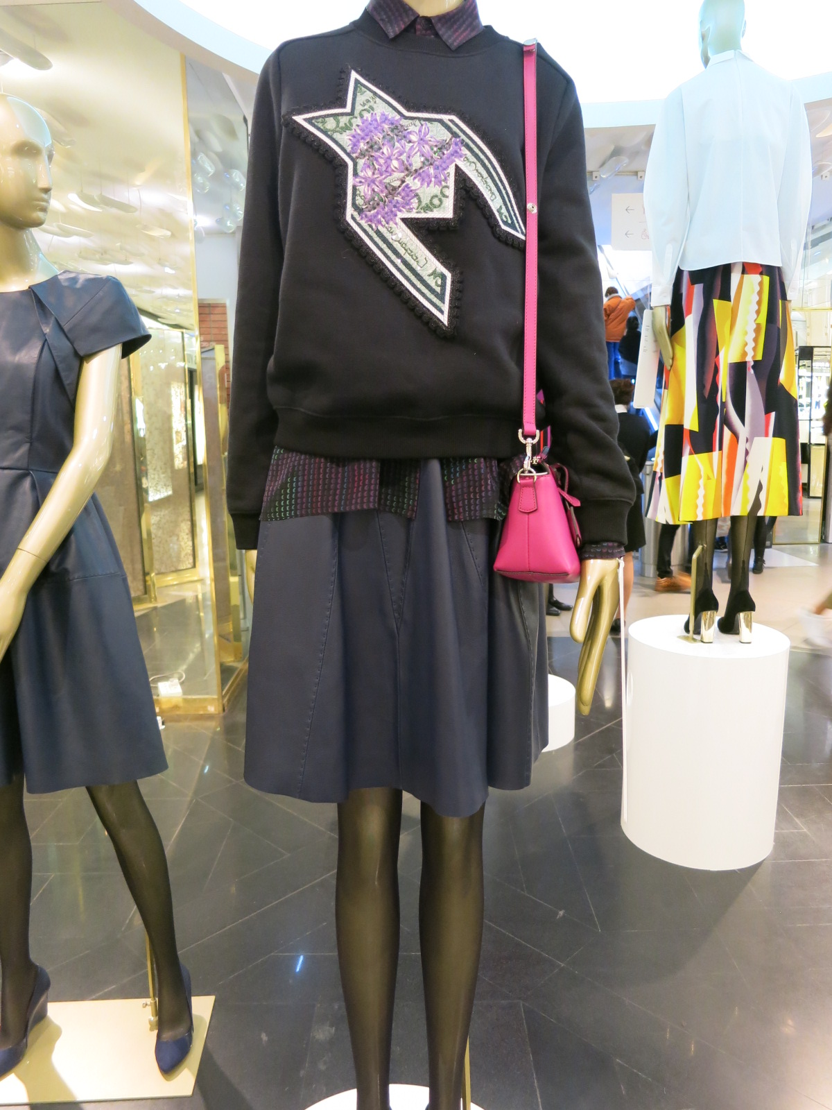 Galeries Lafayette, Paris. Mary Katrantzou embroidered top.